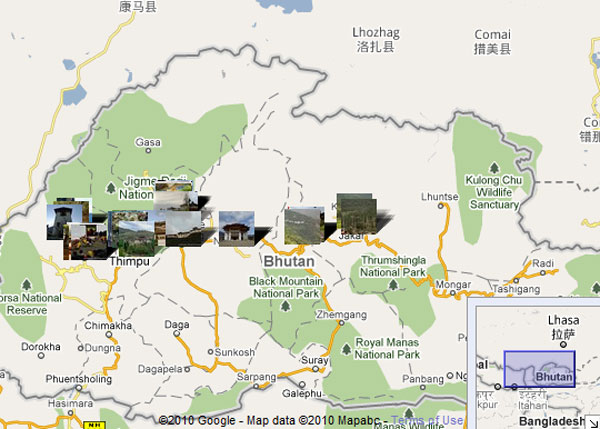 Images and Places Pictures and Info bhutan tourism map