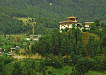 Jakar Dzong, Bumthang, Bhutan, surrounded by greens in Spring