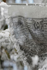 Prayer flag with snow